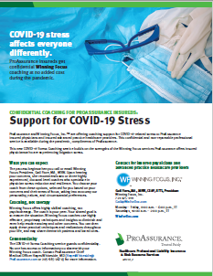 Support for COVID-19 Stress Winning Focus flyer