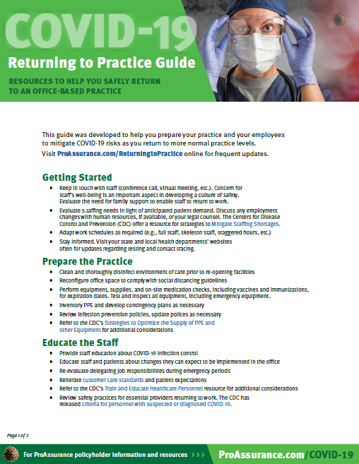 Return to Practice Guide