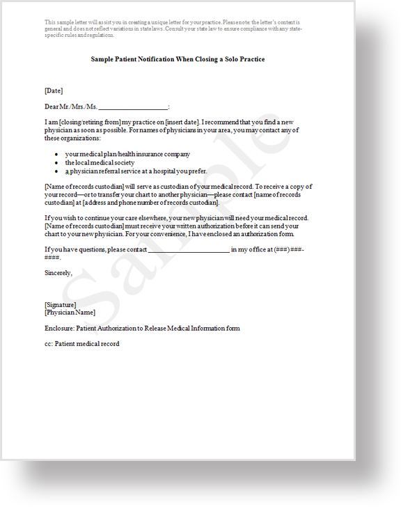 Proassurance treated fairly sample patient notification letter spiritdancerdesigns Choice Image